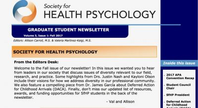 SfHP Graduate Student Newsletter: Fall 2017