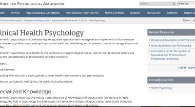 Clinical Health Psychology recognized as specialty by the APA Commission for the Recognition of Specialties & Proficiencies in Professional Psychology