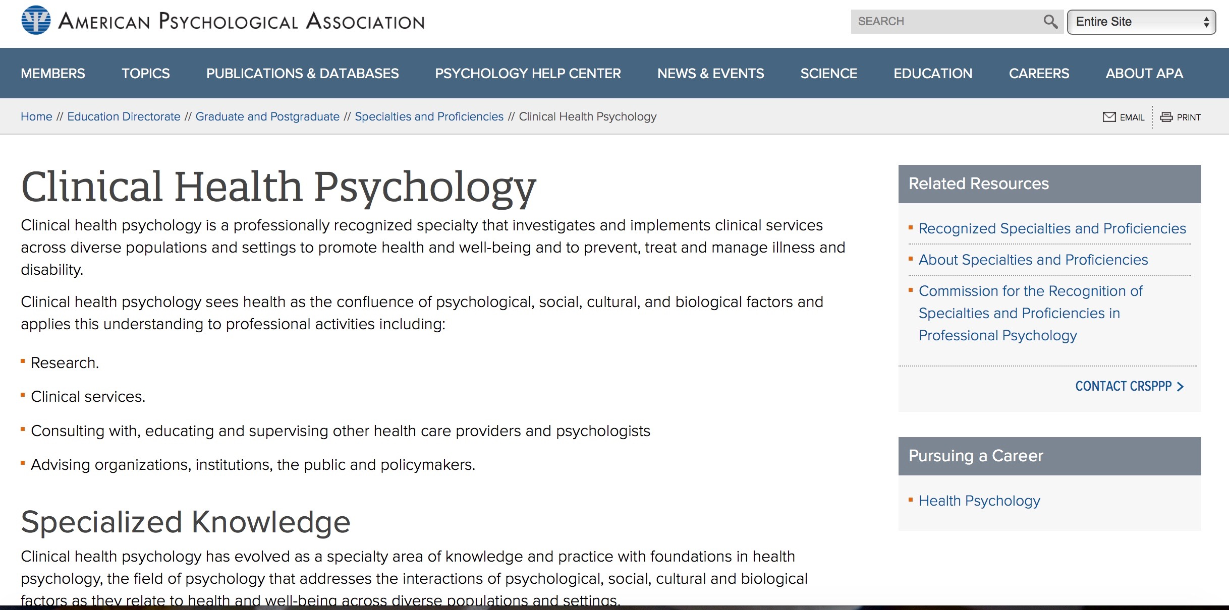 """Featured image for """"Clinical Health Psychology recognized as specialty by the APA Commission for the Recognition of Specialties & Proficiencies in Professional Psychology"""""""